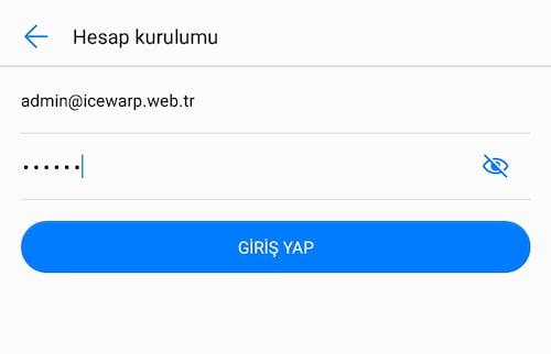 Android icewarp kurulumu hesap giriş bilgileri