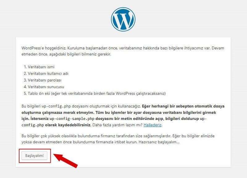 WordPress kurulum başlangıcı