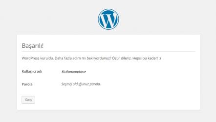 WordPress kurulumu tamamlanma ekranı