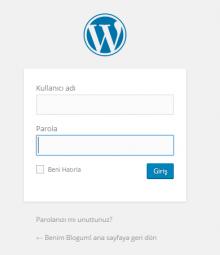 WordPress kurulum giriş ekranı