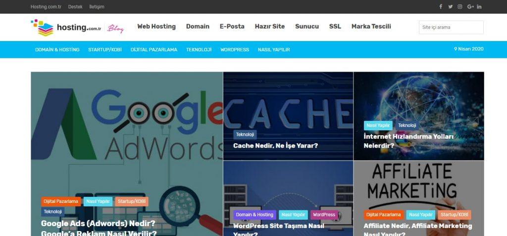 hosting com tr blog masaüstü görünümü