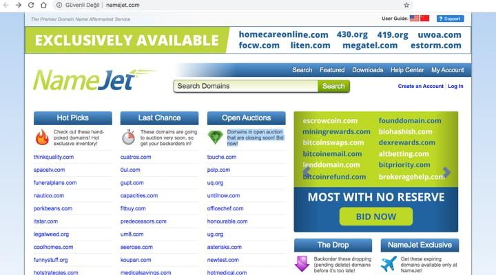 düşen domain sitesi namejet