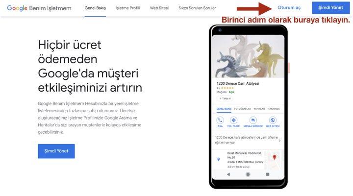 Google My Business'da Oturum Açın