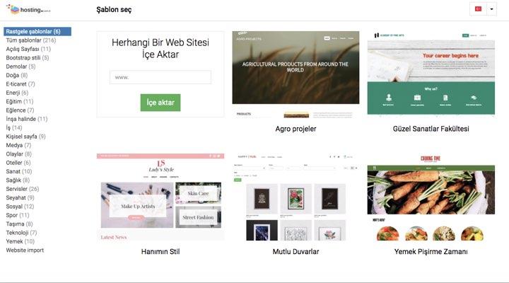 hosting.com.tr - Hazır Site Tasarım Aracı