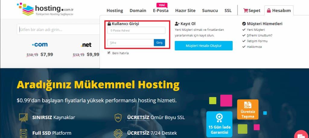 hosting com tr kullanıcı girişi