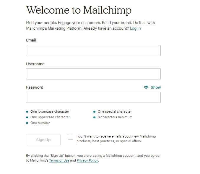 mailchimp üyelik bilgileri giriş ekranı