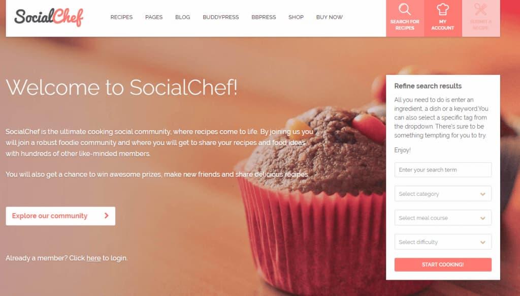 wordpress yemek teması social chef